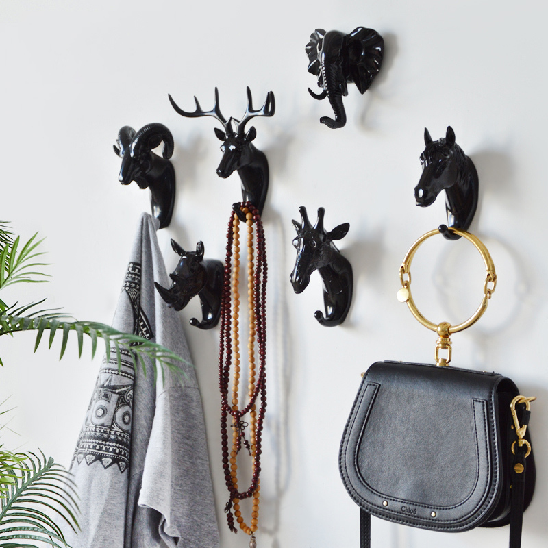 Nordic Black Animal Hooks American Hanging Hook Holder Wall Decor Keys Strong Seamless Sticking Hook Home Decoration Hook