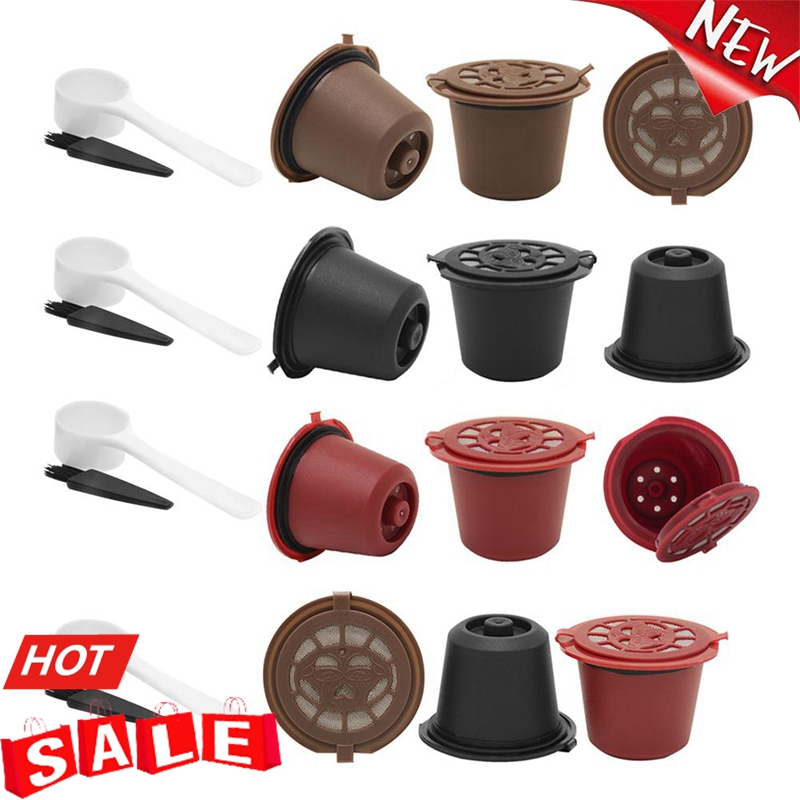 3pcs Refillable Reusable Coffee Capsule Filters Caps for Nespresso Coffee Machine with Brush Spoon Brush Coffee Accessories