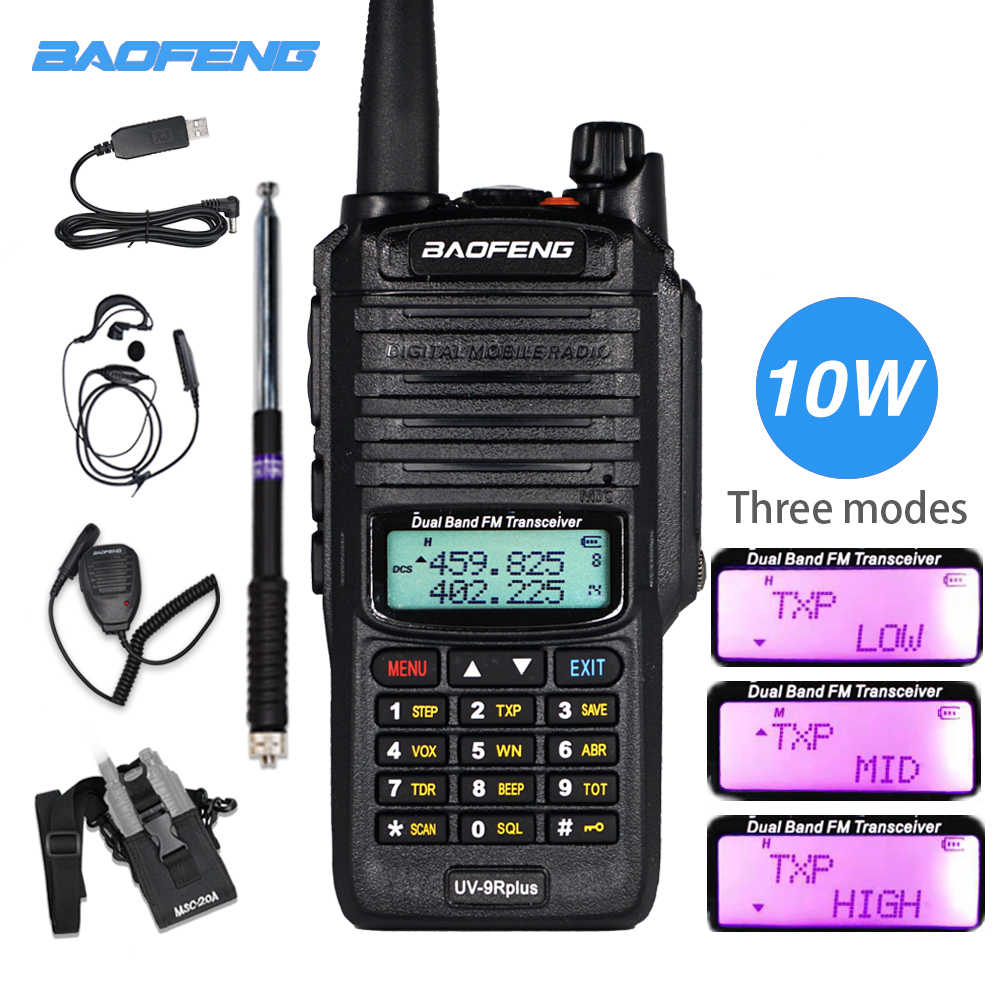 Baofeng UV-9R Plus Walkie Talkie W 10W High Power Radio Tahan Air UV9R Dual Band VHF UHF CB Ham amatir Radio Transceiver