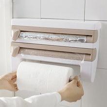 Titular do rolo de papel higiênico cozinha organizador rack cabide papel toalha do banheiro filme cling 4 in1 wall mounted organizer