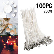 Velas flameless dos wicks da vela do algodão de 100 pces 20cm que fazem a vela do natal do aniversário pré-encerada para a fatura da vela
