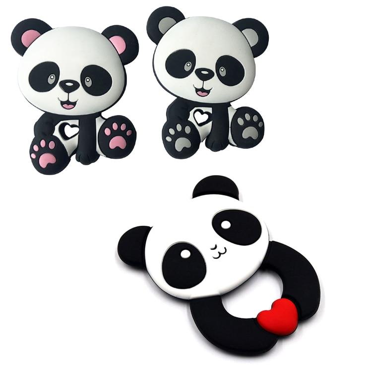 Силиконовые Прорезыватели без BPA, пищевая грызунок, панда, маленькая удочка, Прорезыватель для зубов, ожерелье, подарок для детского душа, Пр...