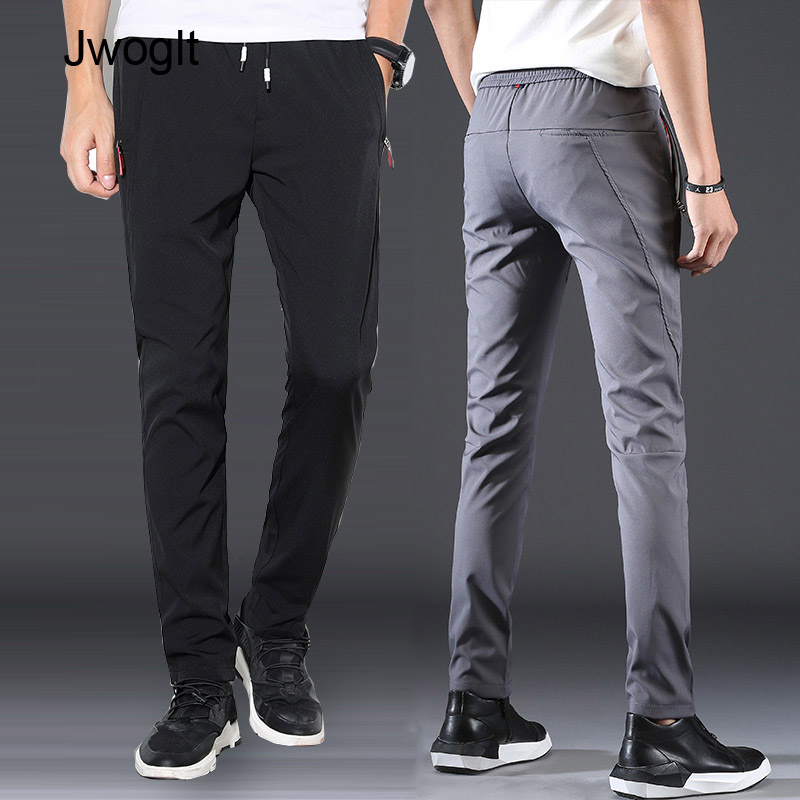 Spring Autumn New Design Casual Men Pants Black Navy Gray Elastic Straight Trousers Fashion Drawstring Waist Joggers 28-38