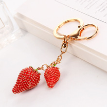 2020 Fashion The simulation of Crystal Strawberry Keychain Creative Fruit key Chains for Women Car Bag Pendant Gifts key Ring creative simulation lobster key chains pendant popular key ring ornament cute gifts ls1908052