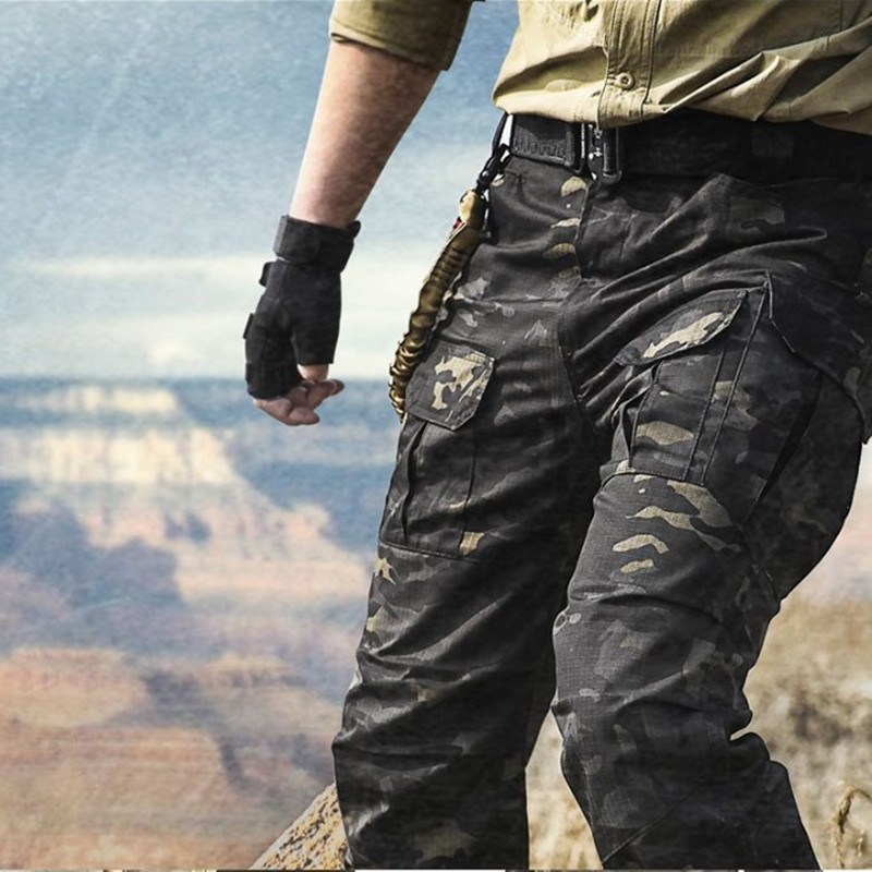 Spring Tactical Combat Camouflage Training Pants Men Plaid Multi-pockets Outdoor Hiking Climbing Fishing Hunting Cargo Trousers