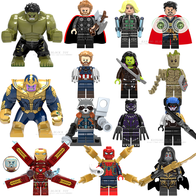 Super Heroes lEGOED Avengers Marvel: infinity War Iron Man Thanos Thor Black Panther Falcon Gamora Hulk LOKI Building Blocks ของเล่น