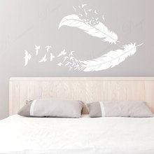 Disappearing Feathers And Birds Vinyl Home Decor Wall Sticker Bedroom Decoration Decals Removable Murals Wall Poster 4383 travel agency office wall sticker vinyl interior home decor decals say hello to summer voyage murals removable wallpaper 3605