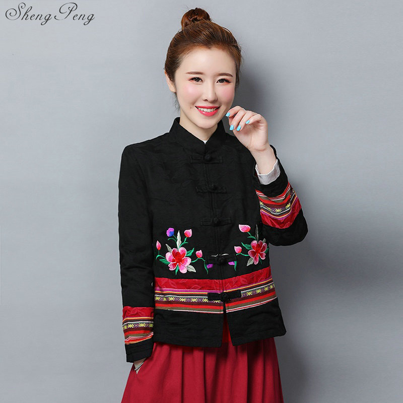 Women's 2019 Ladies Chinese Jackets Autumn National Wind Loose Embroidery Jacquard Long Sleeve Short Coat Traditional Tops V1736