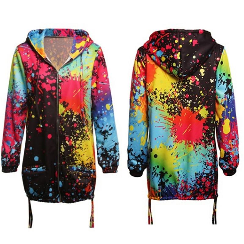 Hc52d29aca17c44b18d67e45c960f2d50G Bomber Jacket Coat Women Colourful Tie Dyeing Print Pocket Zipper Hooded Sweatshirt Outwear Casual Windbreaker Slim Overcoat