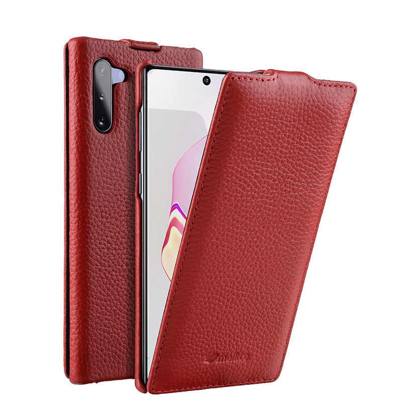 Nouvelle housse de téléphone à rabat en cuir véritable ouverte verticale pour Samsung Galaxy Note10 Plus Note10 + sacs de poche d'affaires en peau de vache véritable