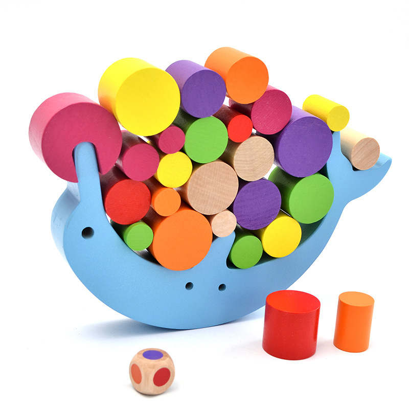 Baby Balance Training Dolphin Building Blocks Colorful Preschool enlightenment wooden Stacking Desk Game Early Education gifts