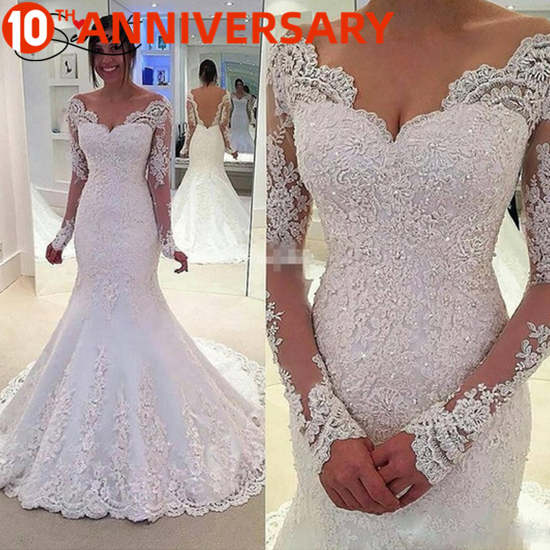 OllyMurs Elegant Lace Mermaid Wedding Dress Full Floral Print Lace Up Church Suitable For Wedding Africa Europe Americas Bride