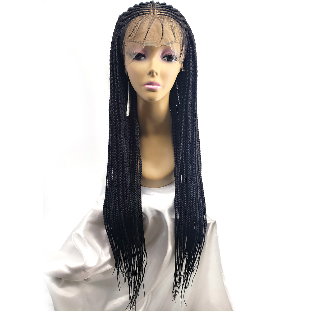 36 Inch 13x6 Braided Wigs Synthetic Lace Front Wig For Black Women Cornrow Braids Lace Wigs With Baby Hair Box Braid Wig