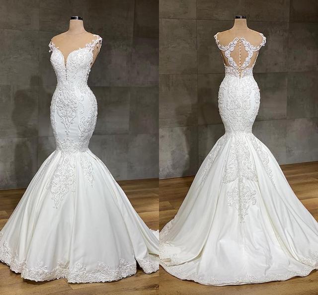 Роскошное кружевное свадебное платье с юбкой годе, с драгоценным вырезом, полностью кружевное длинное свадебное платье с аппликацией и длинным шлейфом для собора, 2020