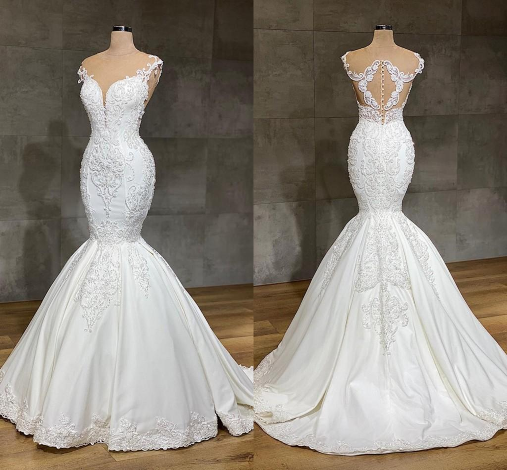 2020 Luxurious Mermaid Lace Wedding Dresses Jewel Neck Full Lace Appliqued Crystal Long Cathedral Train Wedding Bridal Gowns