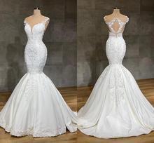 2020 luksusowe Mermaid koronkowe suknie ślubne Jewel Neck pełna koronkowa aplikacja kryształ długi katedra pociąg suknie ślubne dla panny młodej