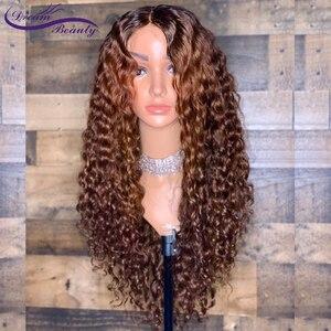 Image 3 - 13x6 парик с эффектом омбре, светлый парик на шнуровке спереди, бразильские кудрявые парики без повреждений, человеческие волосы с эффектом омбре, предварительно выщипанные отбеленные узлы, мечта, красота