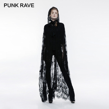 PUNK RAVE Gothic Positioned Lace Flower Network Embroidery Transparent Long Cloak Hood Victorian Black Coat Concise Jacket