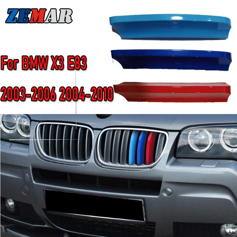 ZEMAR 3 шт. ABS для 2003 2004 2005 2006 2007-2010 BMW X3 E83 автомобильные гонки решетка полоса отделка Зажим м силовые характеристики аксессуары