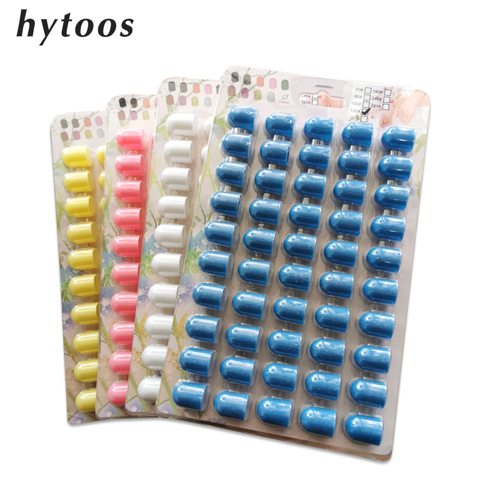 HYTOOS 50Pcs 13mm Sanding Caps Pedicure Care Tool Polishing Sand Block Foot Cuticle Calluse Removal Nail Drill Accessories