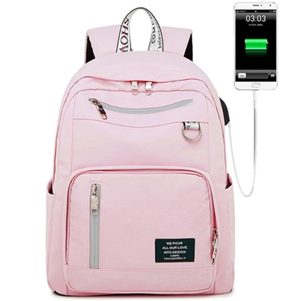 Nouveau solide couleur impression USB charge sac à dos étanche sac à dos femme Anti-vol voyage sac à dos d'école pour ordinateur portable fille
