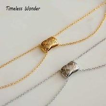 Timeless Wonder Titanium Geo Zirconia Choker Necklace Women Stainless Steel Jewelry Punk Boho Gothic Ins Gold Silver Chains 2125