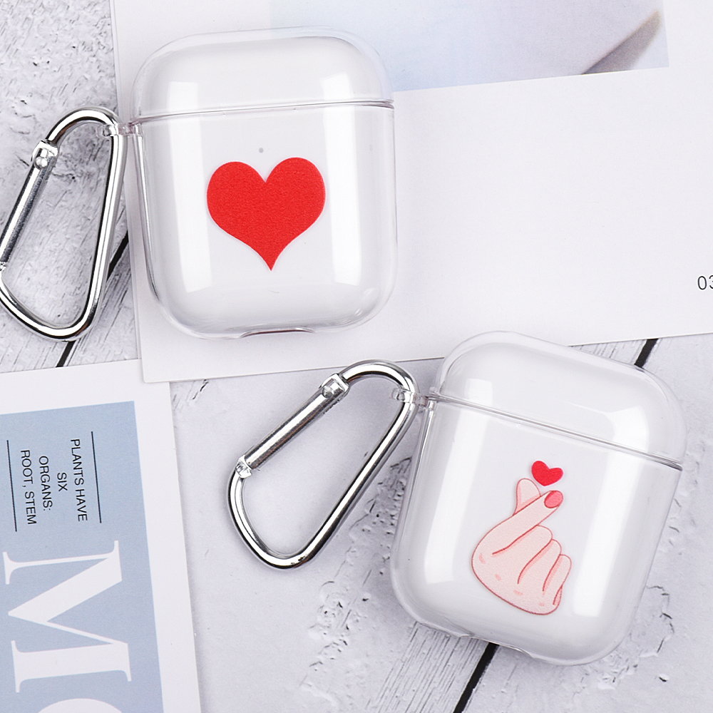 Fashion Couple Earphones Case For Apple AirPods 2 Charging Box Cases For Airpods 1 Transparent Hard PC Crystal Cover With Hooks