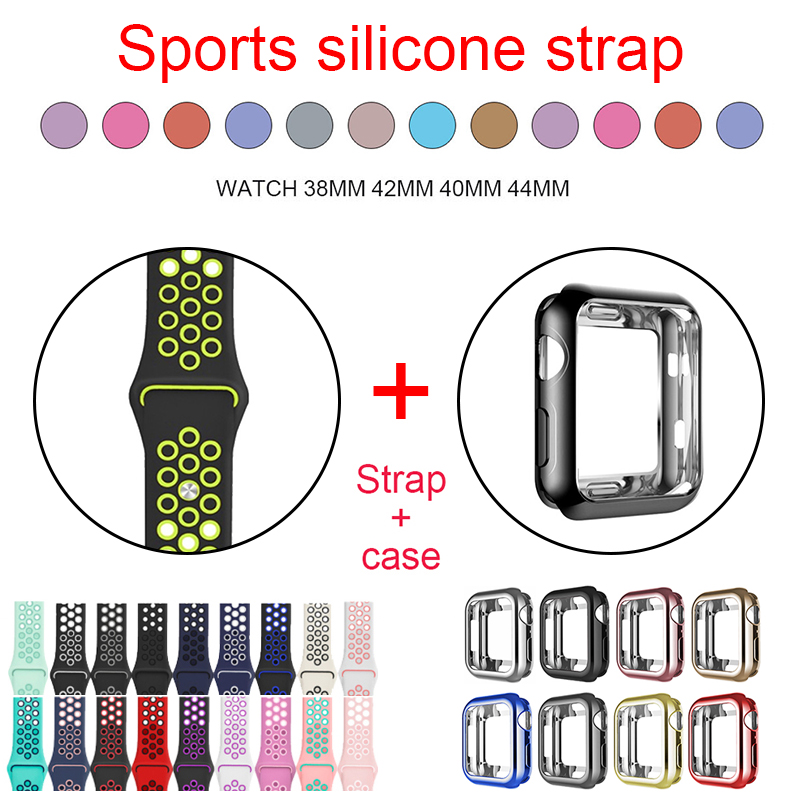 Silicone Strap+soft Shell,38mm 40mm 42mm 44mm Case Suitable For Apple Watch Series 5/4/3/2/1 Sports Wristbands Iwatch Bracelet