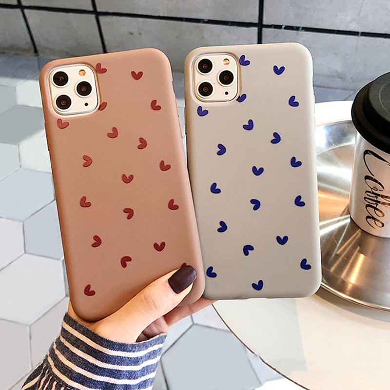 Cute Love Heart Phone Case For iPhone 11 Pro MAX Case Soft Silicone TPU XS MAX XR X 6 7 8Plus XS lovely Couples Heart Love Cover