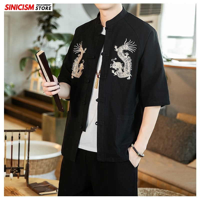 Sinicism Store Embroidery Chinese Style Shirt Mens Fashion 2020 Summer Casual Mens Shirts Male Black Buckle Shirt Clothing 5XL