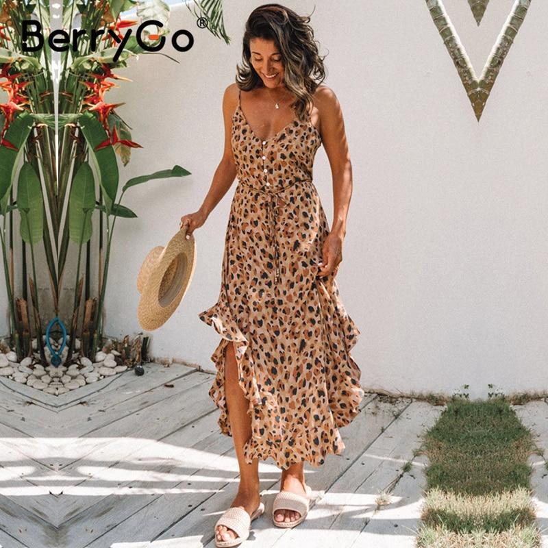 BerryGo Leopard Print Women Maxi Dress Sexy Sleeveless Ruffled High Waist Summer Dress V-neck Buttons Beach Wear Holiday Dress