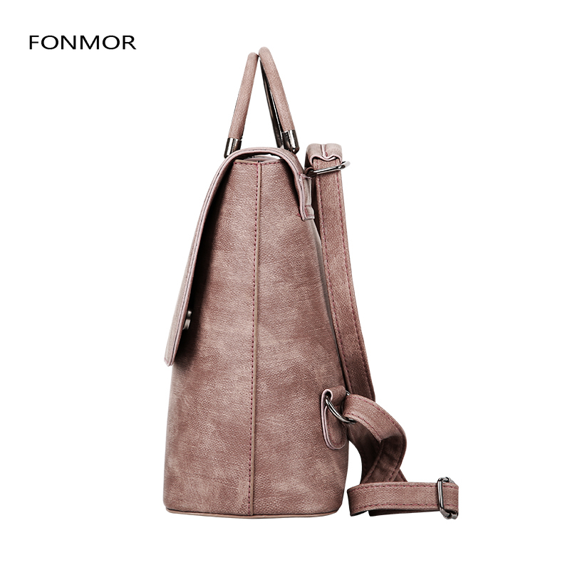 2019 new PU leather women rucksack Multipurpose satchel female shopping shoulder bags ladies casual travel backpacks in Backpacks from Luggage Bags