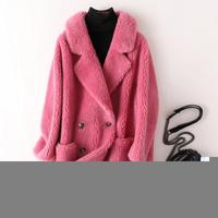 Women Thick Teddy Jacket Pockets Vintage Turn Down Collar Fluffy Faux Fur Coat Loose Long Outerwear Woolen Coats