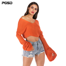 цены PGSD Autumn winter Women knitted sweater Solid color sexy short loose Long Horn sleeves casual pullover V-Neck female clothes