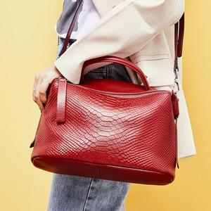 Image 3 - Zency Crocodile Pattern Women Tote Handbag Made Of Genuine Leather Daily Casual Crossbody Shoulder Bag For Lady Black Grey