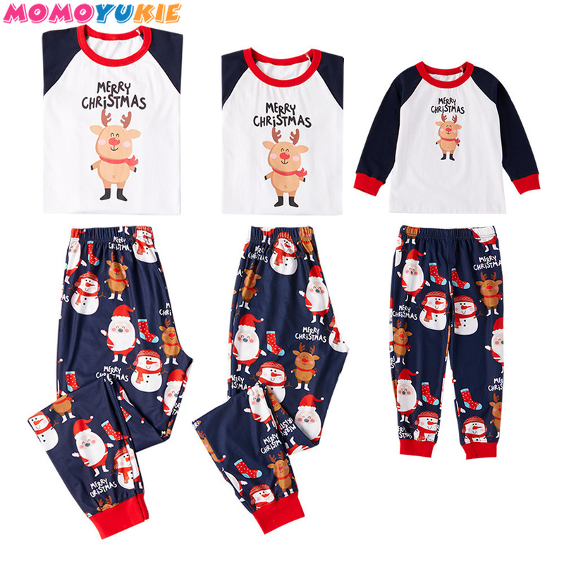 Christmas Family Matching Pajamas Red Nightwear Father Mommy And Me Clothes Family Look Mom Daughter Son PJS Boys Girl Outfits