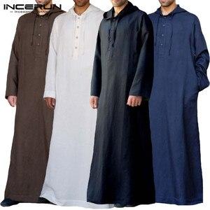 Image 1 - Muslim Robe Hoodies Kaftan Dressing Mens Saudi Arab Dubai Long Sleeve Thobe Arabic Long Islamic Jubba Thobe Man Clothing 2020