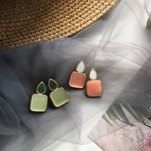 South Korean candy colorful earring summer square geometry stud girl fashion jewelry 2019 new