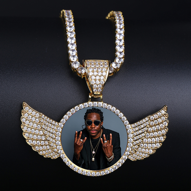 Custom Photo Memory Medallions Solid Pendant Necklace With Tennis Chain Hip Hop Jewelry Personalized Cubic Zircon Chains Gift 6