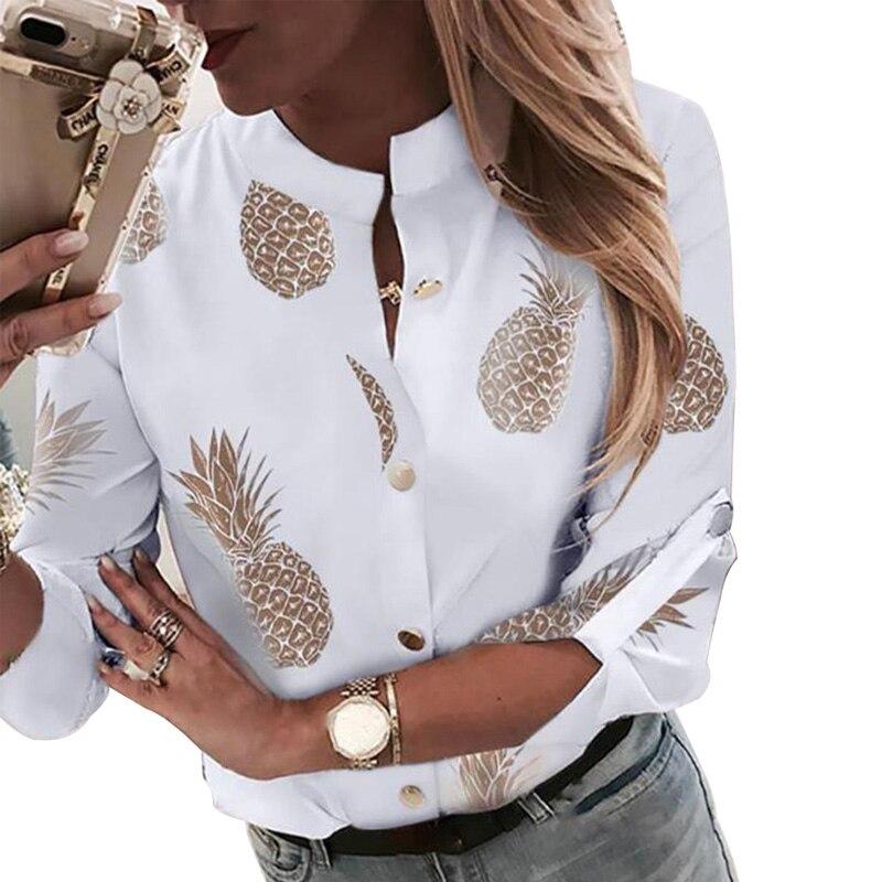 2020 Spring Pineapple Women Chiffon Blouse Shirt White V-neck Long Sleeve Casual Office Top