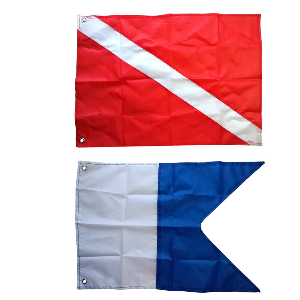 2 Size Large Dive Boat Flag International Sign Universal Scuba Diving Boat Floating Flag With Metal Grommets Accessories