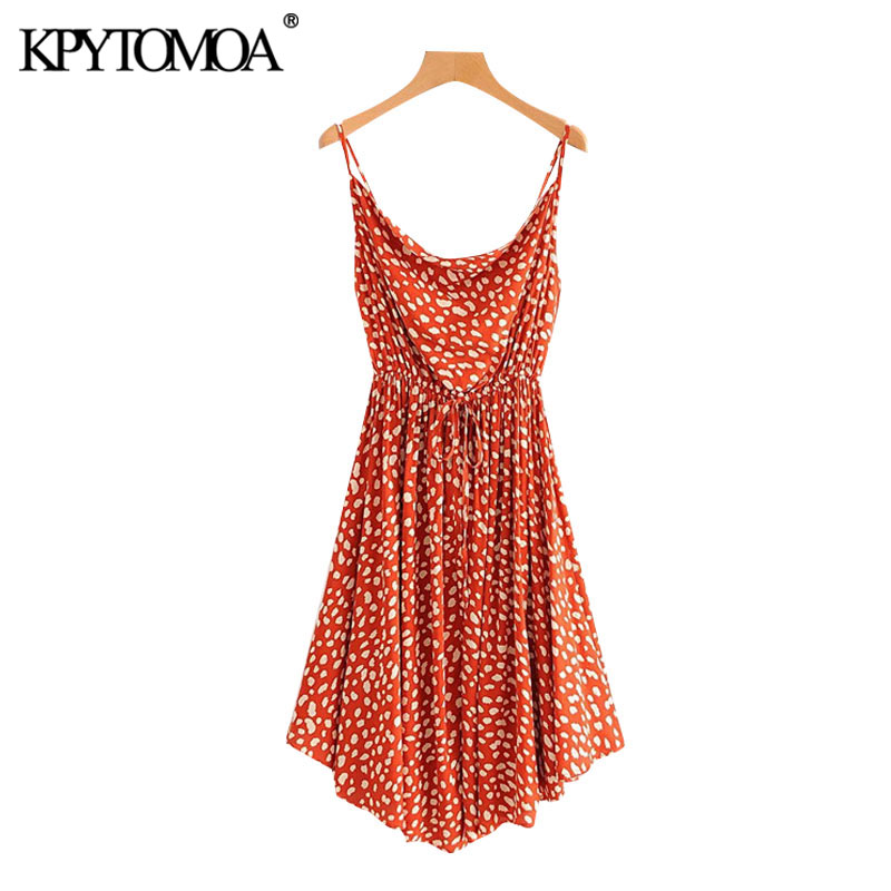KPYTOMOA Women 2020 Chic Fashion Leopard Print Pleated Midi Dress Vintage Backless Drawstring Tie Straps Female Dresses Mujer