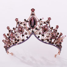 Diadema de lujo para Cristal púrpura, diadema barroca con diamantes de imitación para novias, tiara para boda, fiesta, graduación, accesorios para el cabello