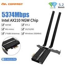 Bezprzewodowy dostęp do internetu 6E Intel AX210 dwuzakresowy bezprzewodowej PCIe Adapter sieciowy Wi-Fi 2.4G/5G/6Ghz 2400M bezprzewodowy dostęp do internetu karty Bluetooth 5.2 PCI Express bezprzewodowa sieć lan