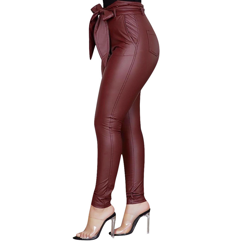 Goocheer Women Pu Leather Leggings High Waist Bow Sashes Office Ladies Casual Pants Elegant  Stretch Slim Pencil Trousers