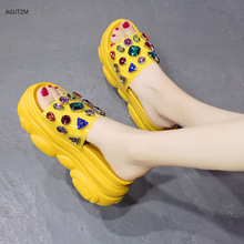 Thick-soled sandals 2020 summer brand fashion open toe rhinestone casual shoes outdoor indoor work Slippers F99
