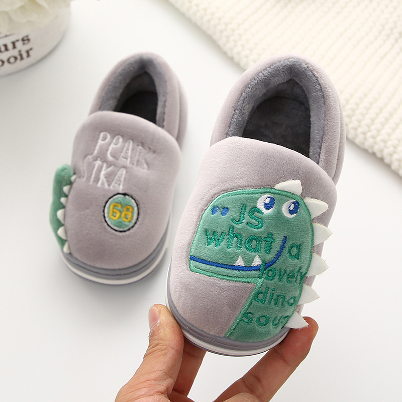 Boys Autumn Winter Slippers Girls Cute Cartoon Dinosaur Home Shoes Children Warm Fur Slipper Kids Home Slippers Zapatillas