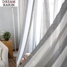 Серый лен полосатый фатин шторы в простом стиле для Гостиная