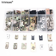 120PCS Mixed Universal Auto Self tapping Screw Metal Base Iron Block Fastener Clip With Box For All Cars Rivet Set