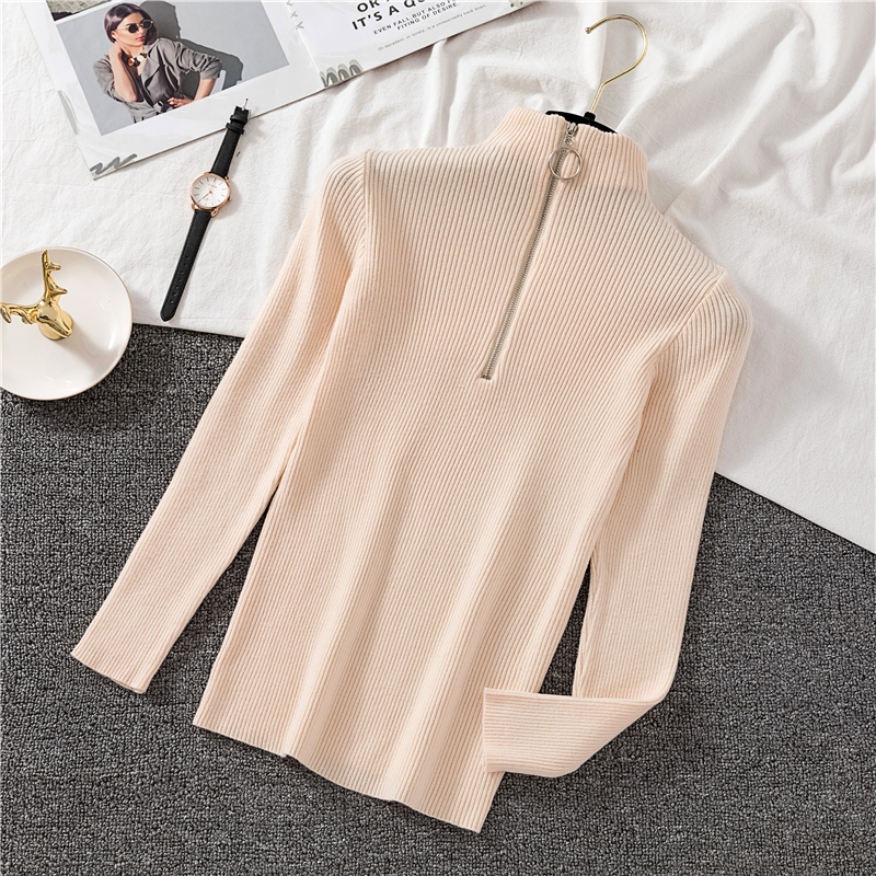 OCEANLOVE Zipper Half Turtleneck Sweater Women Solid Slim Autumn Winter Clothes 2020 Sueter Mujer Basic Fashion